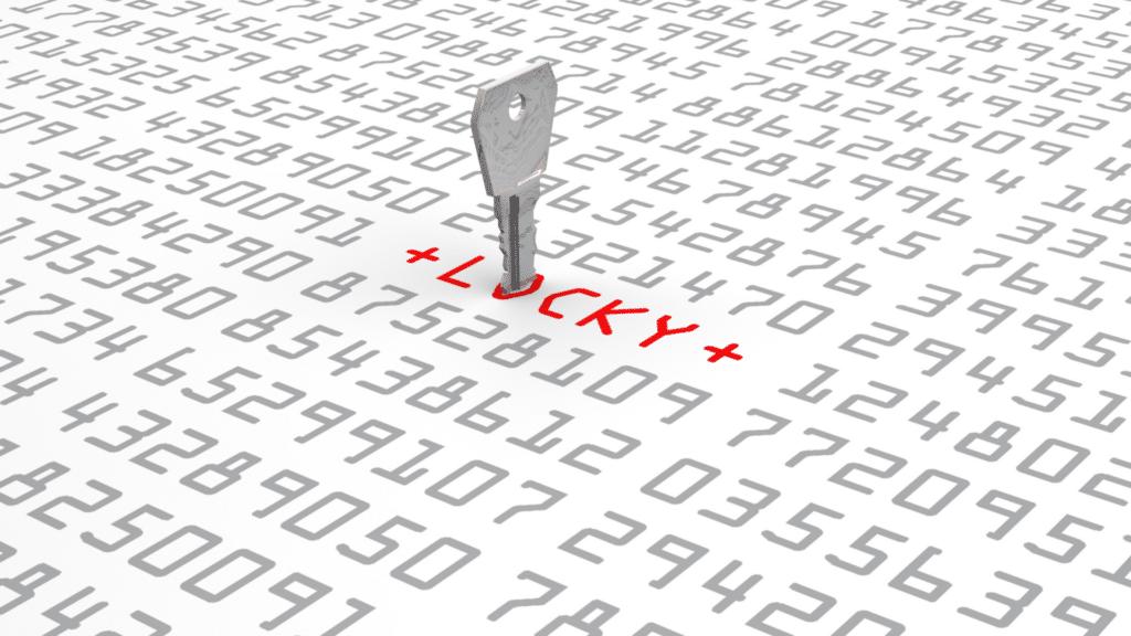 Graue Zahlen auf weißem Hintergrund Schriftzug Locky in rot und Schlüssel als Symbol für Verschlüsselungstrojaner