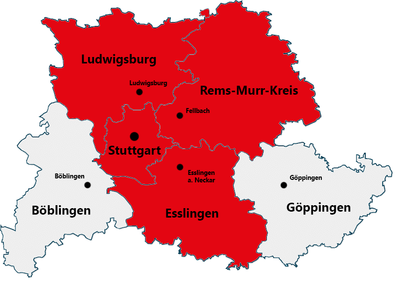 Markierte Einzugsgebiete der Region Stuttgart.